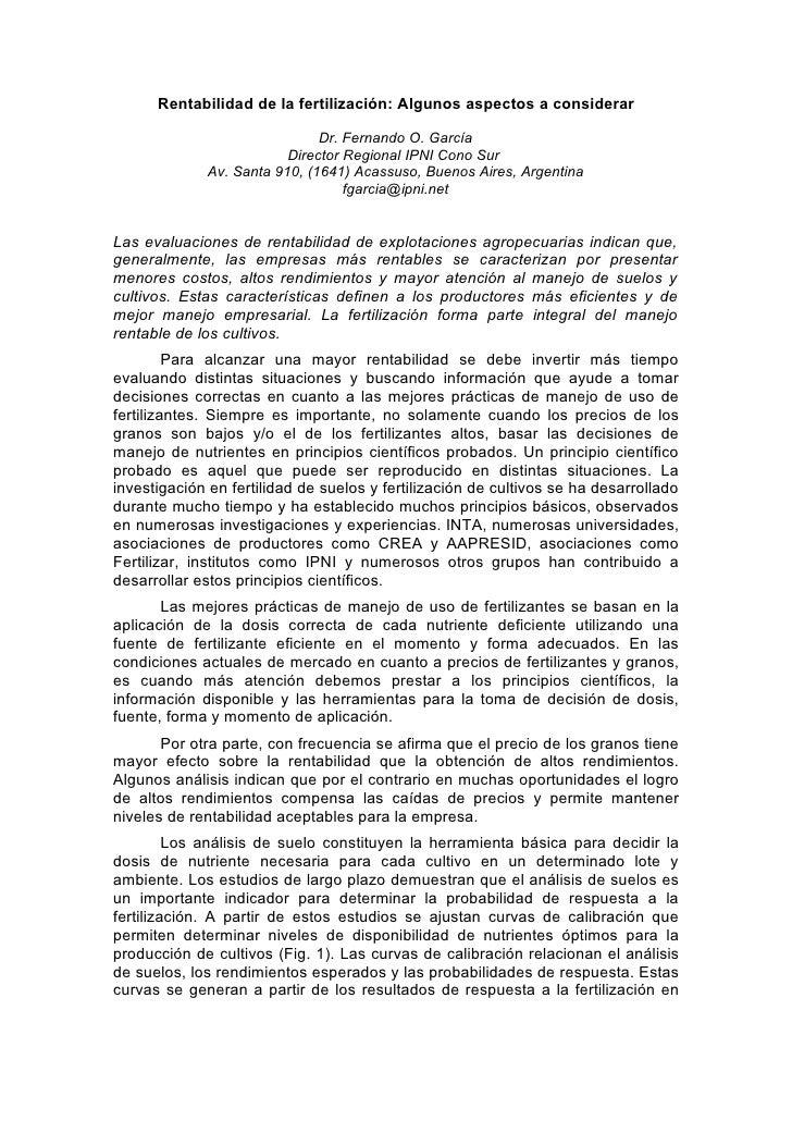 Rentabilidad de la fertilización: Algunos aspectos a considerar                                Dr. Fernando O. García     ...