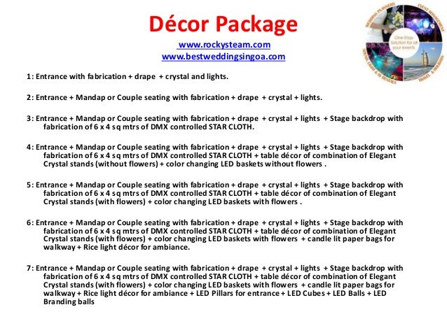Beautiful Wedding Reception Decorations Packages : Wedding And Events Rental Packages