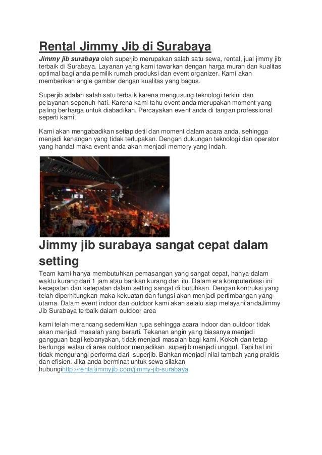 Rental Jimmy Jib di Surabaya Jimmy jib surabaya oleh superjib merupakan salah satu sewa, rental, jual jimmy jib terbaik di...