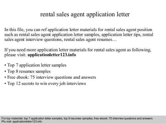Rental sales agent application letter
