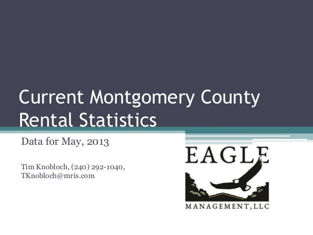 Current Montgomery County Rental Statistics Data for May, 2013 Tim Knobloch, (240) 292-1040, TKnobloch@mris.com