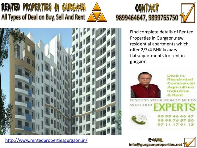 Find complete details of Rented Properties in Gurgaon,new residential apartments which offer 2/3/4 BHK luxuary flats/apart...