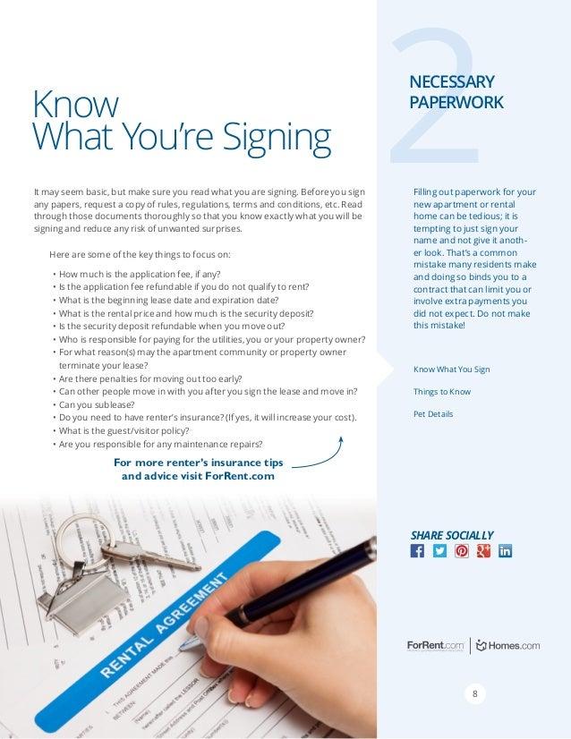 Renters Guide - Necessary Paperwork