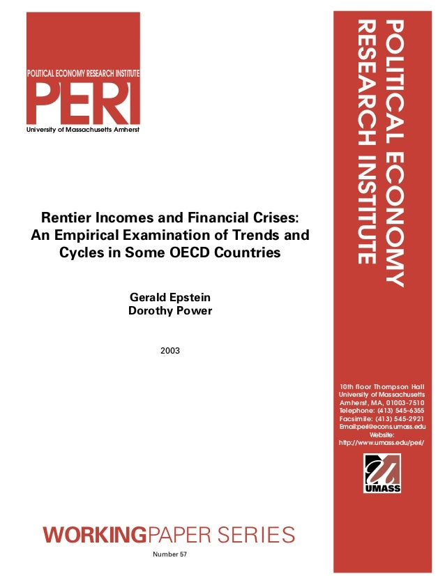 Rentier incomes and financial crises (2003) Gerald Epstein, Dorothy Power