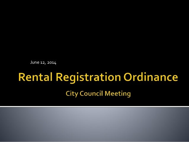 Rentral Registration Ordinance Revisions