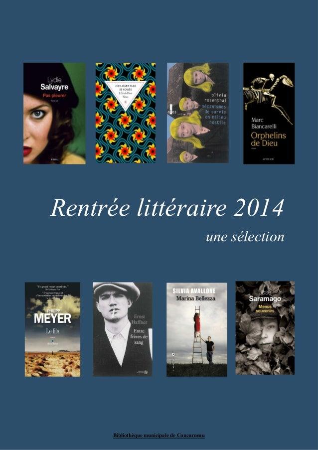 Rentrée littéraire 2014  Bibliothèque municipale de Concarneau  une sélection
