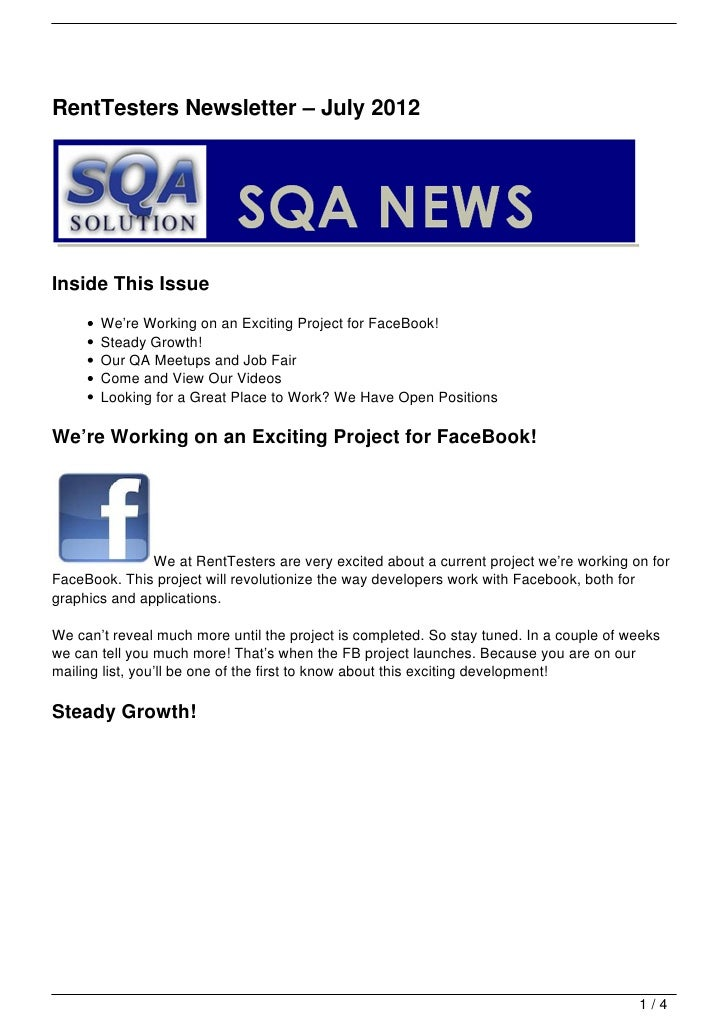 RentTesters Newsletter – July 2012Inside This Issue       We're Working on an Exciting Project for FaceBook!       Steady ...