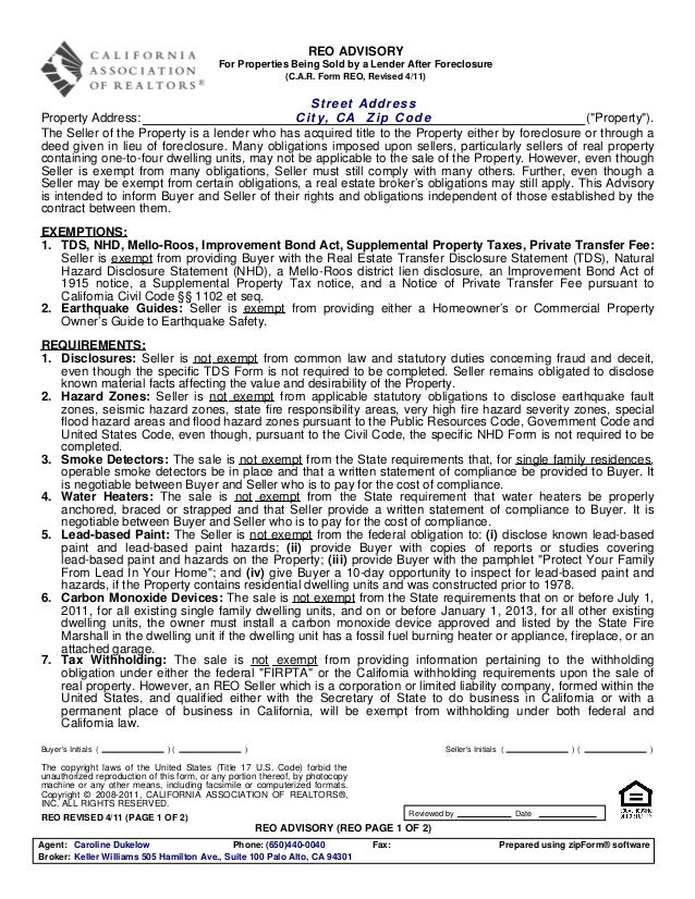 REO ADVISORY                                            For Properties Being Sold by a Lender After Foreclosure           ...