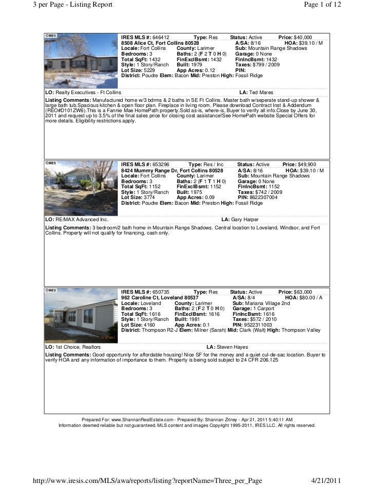 3 per Page - Listing Report                                                                                               ...