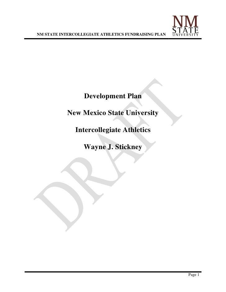 NM STATE INTERCOLLEGIATE ATHLETICS FUNDRAISING PLAN                  Development Plan            New Mexico State Universi...