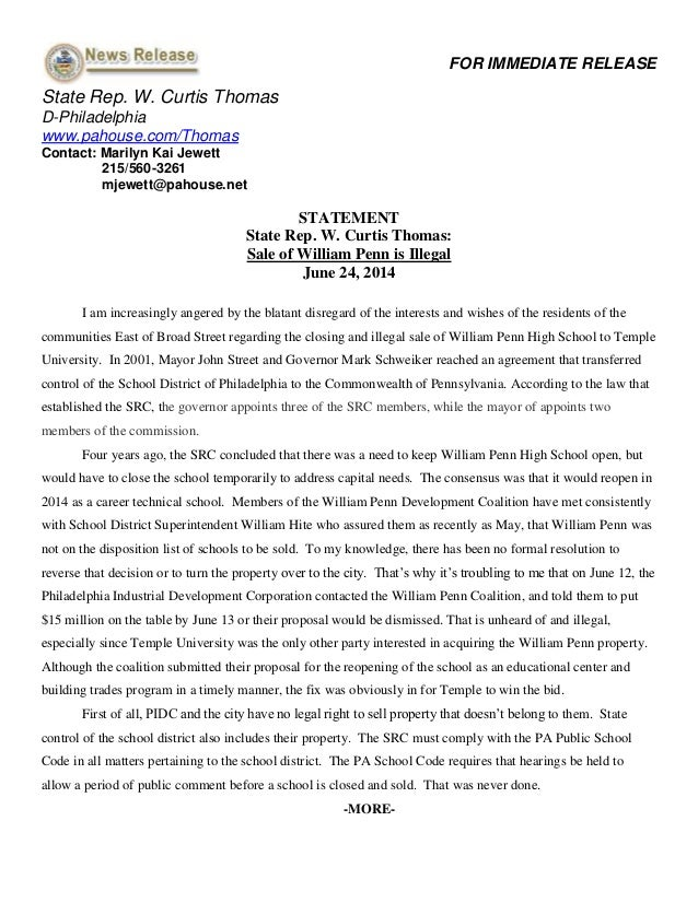 Rep. W. Curtis Thomas' Statement on Illegal Sale of William Penn High School