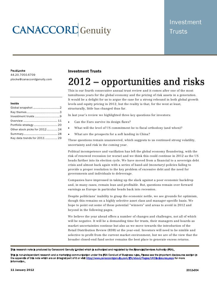 2012 forward review - Opportunities & Risks