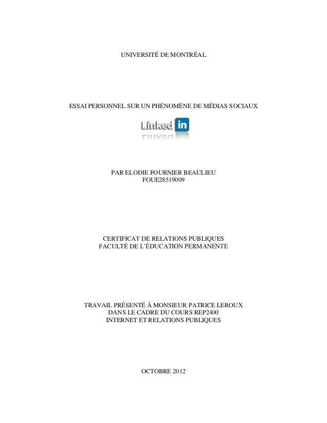 UNIVERSITÉ DE MONTRÉALESSAI PERSONNEL SUR UN PHÉNOMÈNE DE MÉDIAS SOCIAUX           PAR ELODIE FOURNIER BEAULIEU           ...