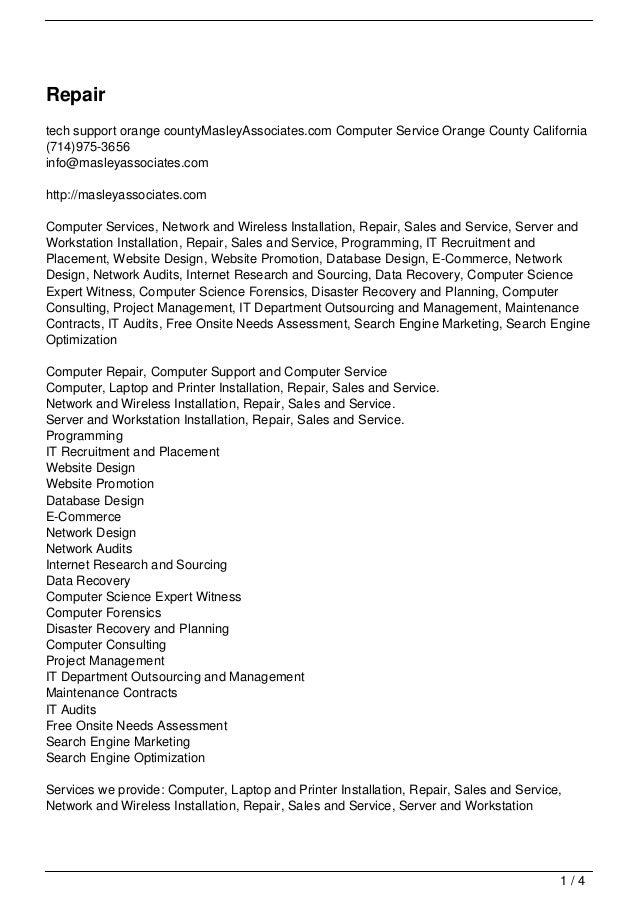 Repairtech support orange countyMasleyAssociates.com Computer Service Orange County California(714)975-3656info@masleyasso...