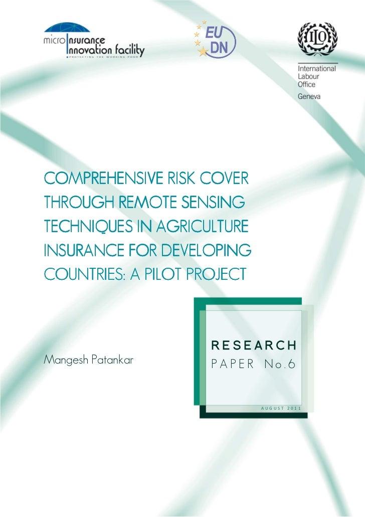 COMPREHECOMPREHENSIVE RISK COVER                  SENSINGTHROUGH REMOTE SENSING               AGRICULTURETECHNIQUES IN AGR...