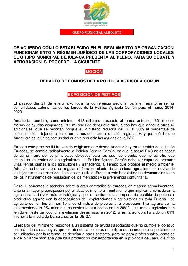 GRUPO MUNICIPAL ALBOLOTE  DE ACUERDO CON LO ESTABLECIDO EN EL REGLAMENTO DE ORGANIZACIÓN, FUNCIONAMIENTO Y RÉGIMEN JURÍDIC...