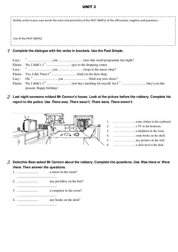 to be past tense exercises pdf