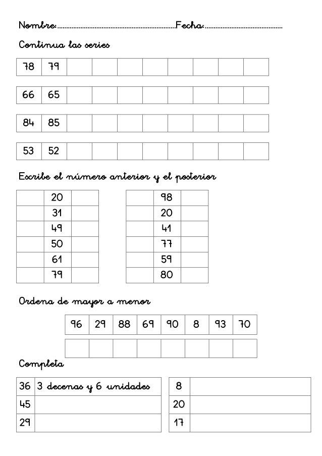 Fichas matemáticas 1º-3
