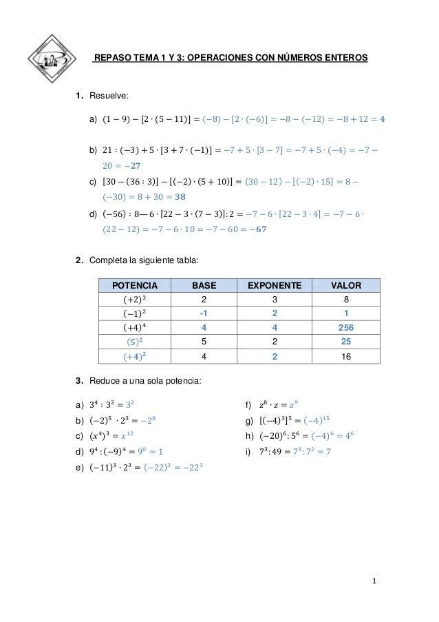 1  REPASO TEMA 1 Y 3: OPERACIONES CON NÚMEROS ENTEROS  1. Resuelve:  a)  b)  c)  d) —  2. Completa la siguiente tabla:  PO...
