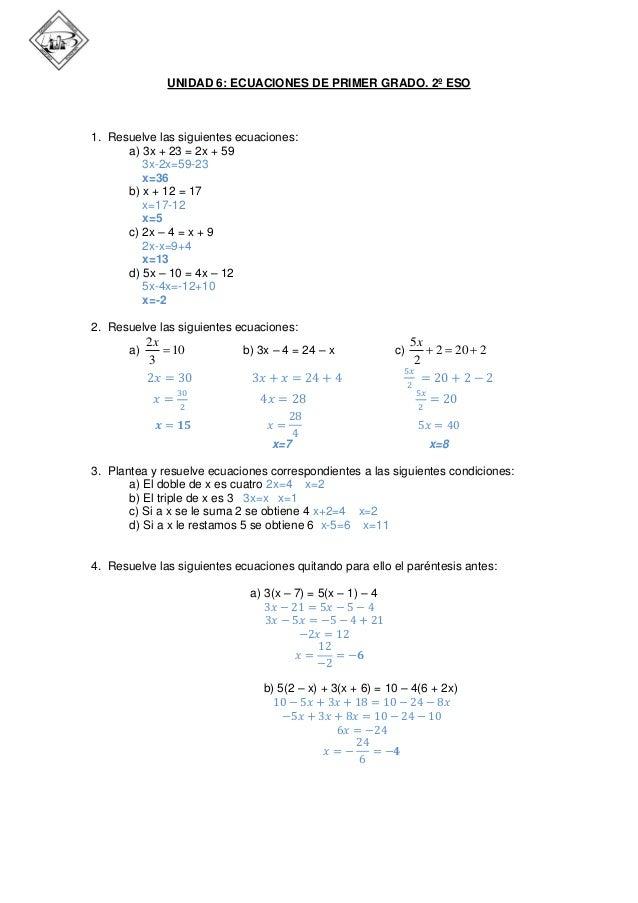 Repaso ecuaciones de primer grado (2ºESO)
