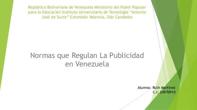 """República Bolivariana de Venezuela Ministerio del Poder Popular  para la Educación Instituto Universitario de Tecnología """"..."""