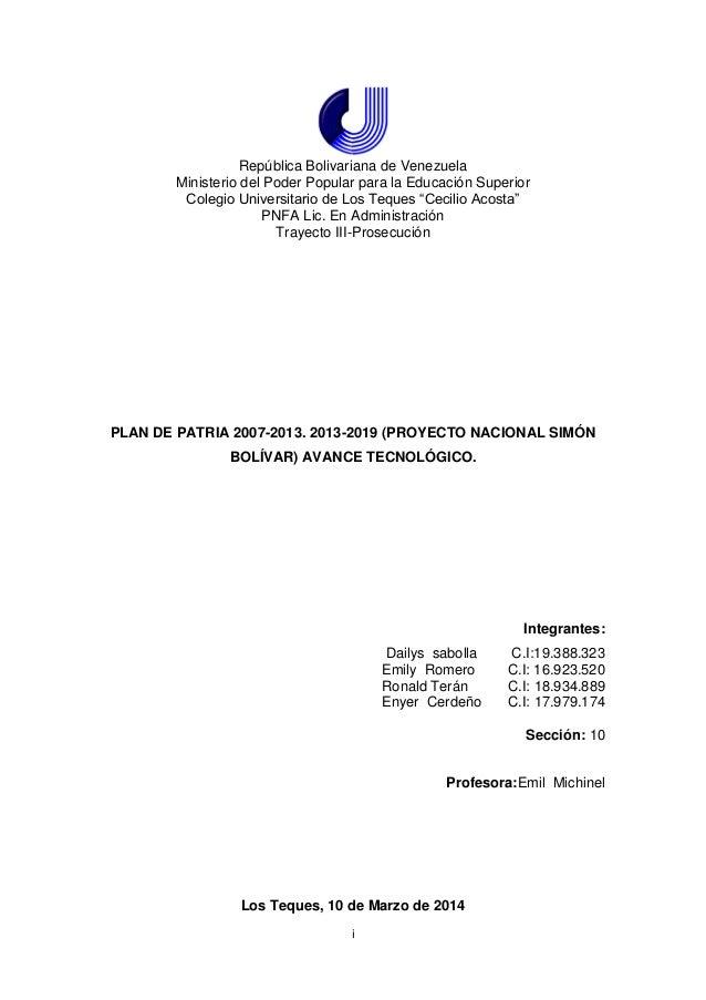 i República Bolivariana de Venezuela Ministerio del Poder Popular para la Educación Superior Colegio Universitario de Los ...