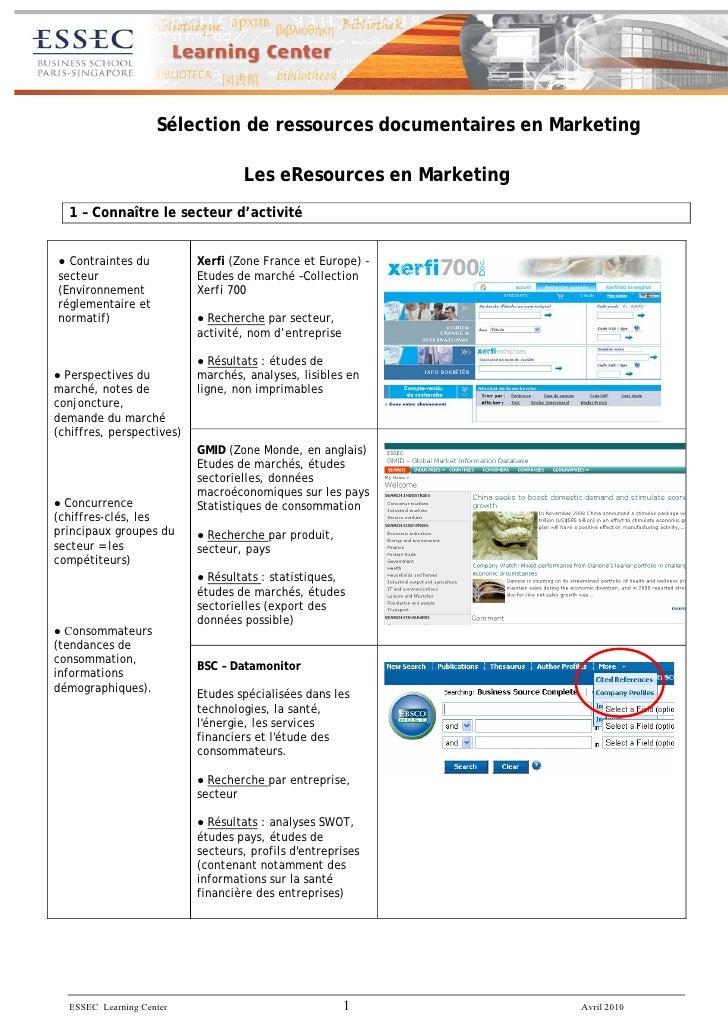 Rrty :; dsv :                         Sélection de ressources documentaires en Marketing                                  ...
