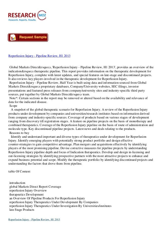 Reperfusion Injury - Pipeline Review, H1 2013 Global Markets Direct's, 'Reperfusion Injury - Pipeline Review, H1 201...