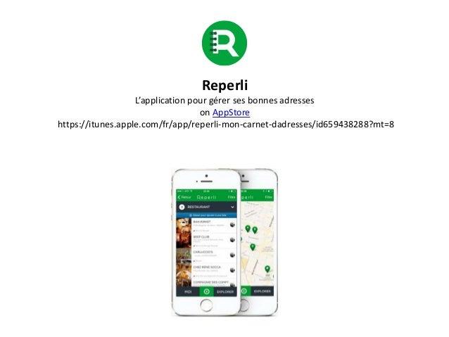 Reperli L'application pour gérer ses bonnes adresses on AppStore https://itunes.apple.com/fr/app/reperli-mon-carnet-dadres...