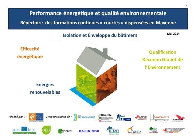 1 Performance énergétique et qualité environnementale Répertoire des formations continues « courtes » dispensées en Mayenn...