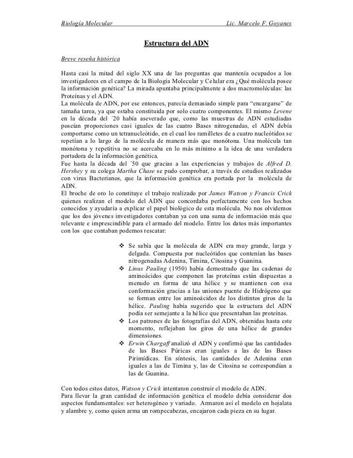 Biología Molecular                                             Lic. Marcelo F. Goyanes                               Estru...