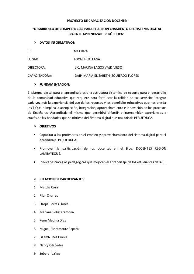 """PROYECTO DE CAPACITACION DOCENTE: """"DESARROLLO DE COMPETENCIAS PARA EL APROVECHAMIENTO DEL SISTEMA DIGITAL PARA EL APRENDIZ..."""