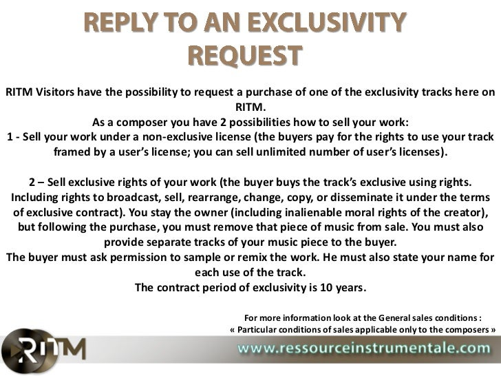 RITM Visitors have the possibility to request a purchase of one of the exclusivity tracks here on                         ...