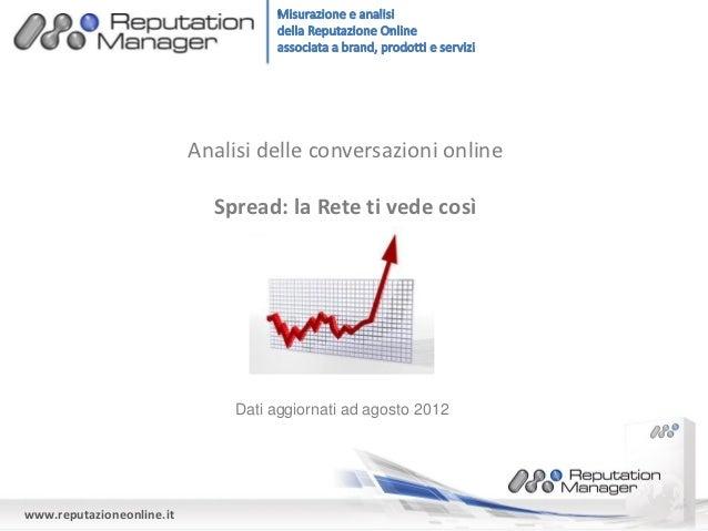 La Reputazione Online dello spread