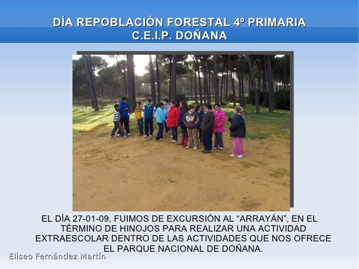 """DÍA REPOBLACIÓN FORESTAL 4º PRIMARIA C.E.I.P. DOÑANA EL DÍA 27-01-09, FUIMOS DE EXCURSIÓN AL """"ARRAYÁN"""", EN EL TÉRMINO DE H..."""