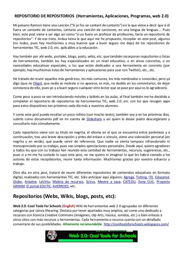 """REPOSITORIO DE REPOSITORIOS (Herramientas, Aplicaciones, Programas, web 2.0)Mi paisano Raimon tiene una canción (""""Si jo fo..."""