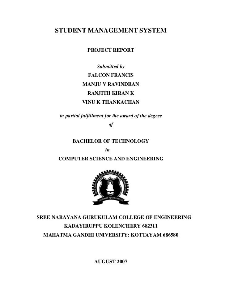 STUDENT MANAGEMENT SYSTEM                   PROJECT REPORT                        Submitted by                   FALCON FR...