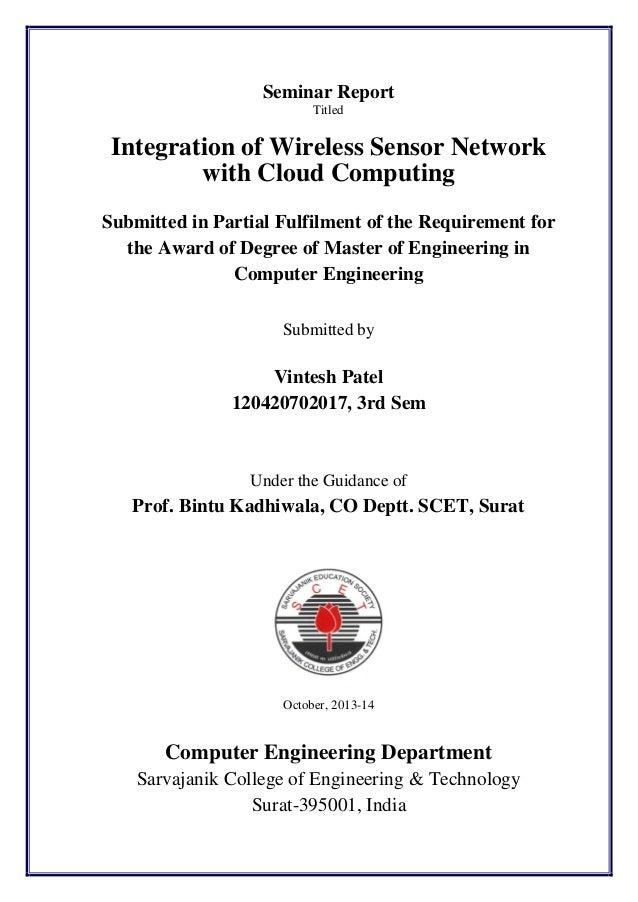 Sensor Cloud Infrastructure - Small Survey Report