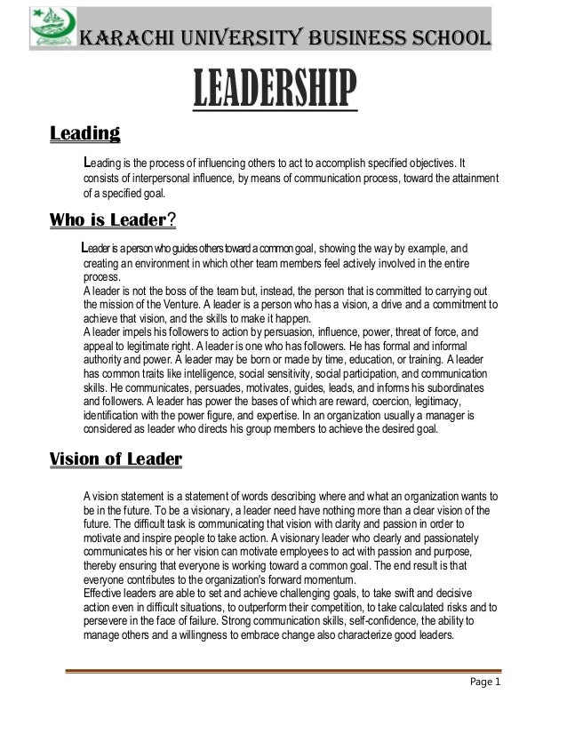 Karachi University Business School  Leading Leading is the process of influencing others to act to accomplish specified ob...