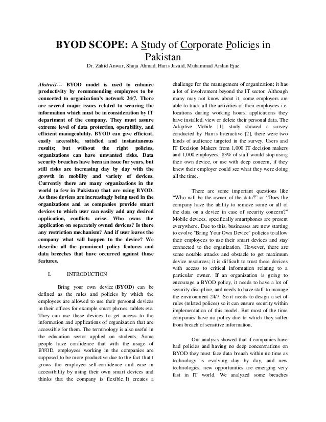 BYOD SCOPE: A Study of Corporate Policies in Pakistan