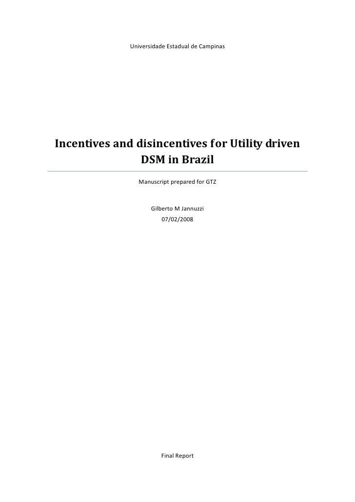 Universidade Estadual de Campinas     Incentives and disincentives for Utility driven                 DSM in Brazil       ...