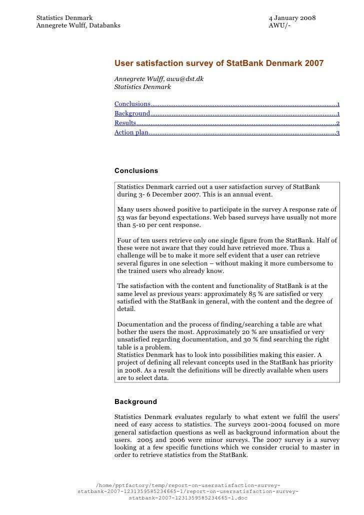 Report On Usersatisfaction Survey  Stat Bank 2007