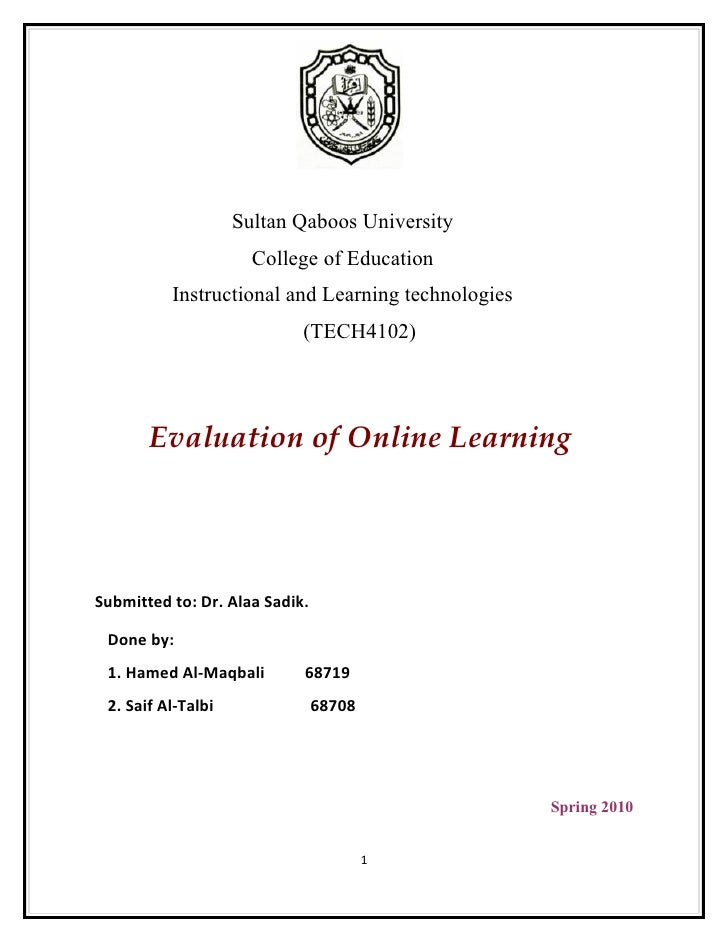 Sultan Qaboos University                       College of Education           Instructional and Learning technologies     ...