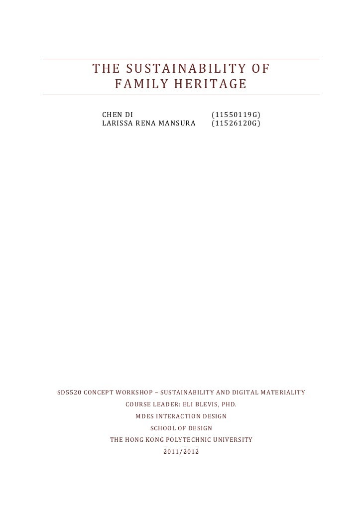 Sustainable Family Heritage (Report)