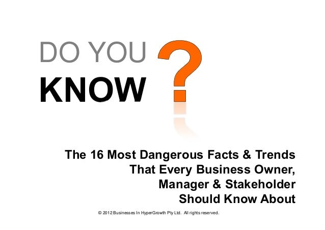 DO YOUKNOW The 16 Most Dangerous Facts & Trends           That Every Business Owner,                Manager & Stakeholder ...