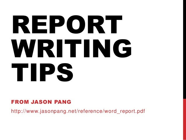 tips for writing reports