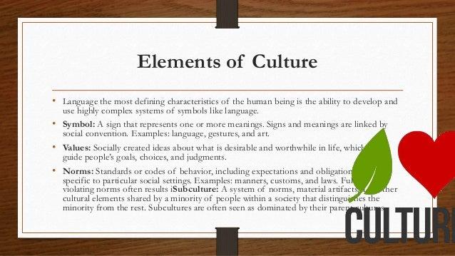 Symbols Elements of Culture Elements of Culture • Language