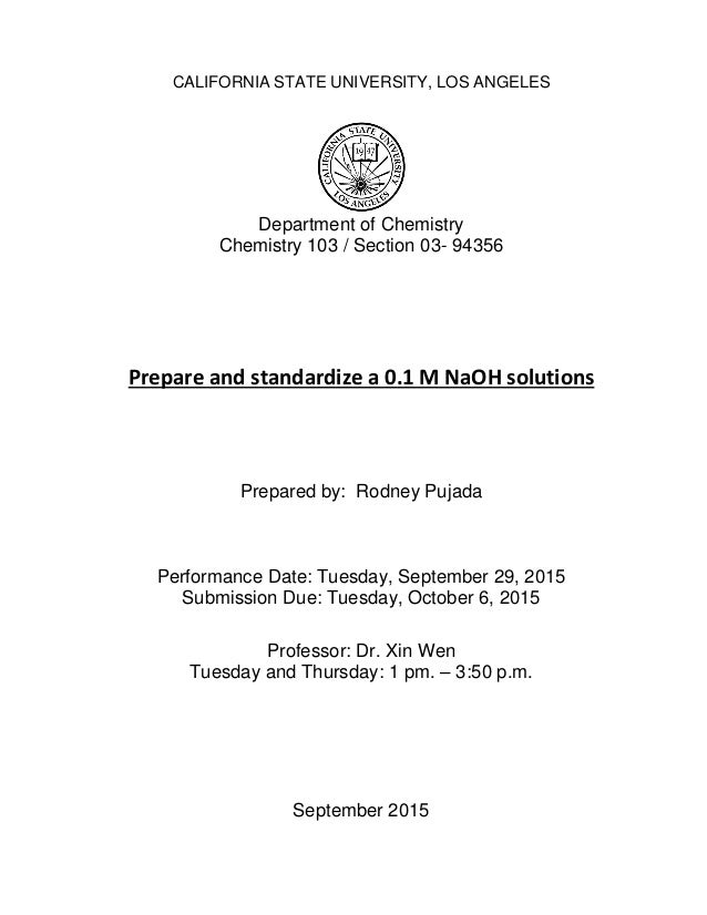 preparation and standardization of 0 1 m Chemistry 120: experiment 3 preparation of standard sodium thiosulfate solution and the standardization is an example of iodometry prepare a 01-m thiosulfate solution by dissolving approximately 25 g of sodium.