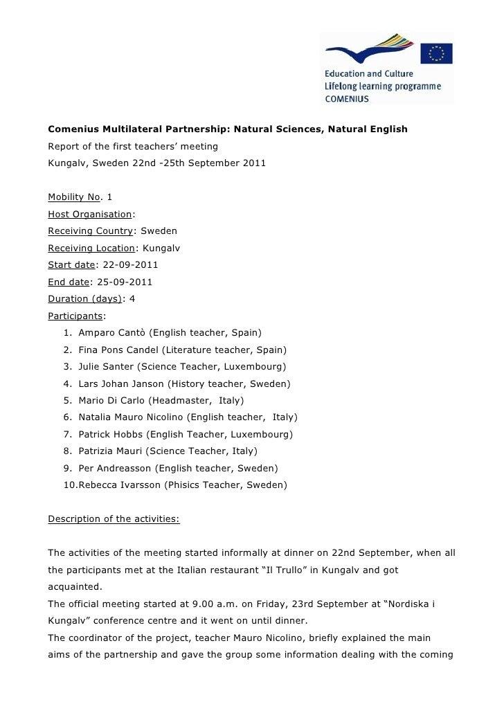Report 1st teachers' meeting sweden 22 25 sept2011