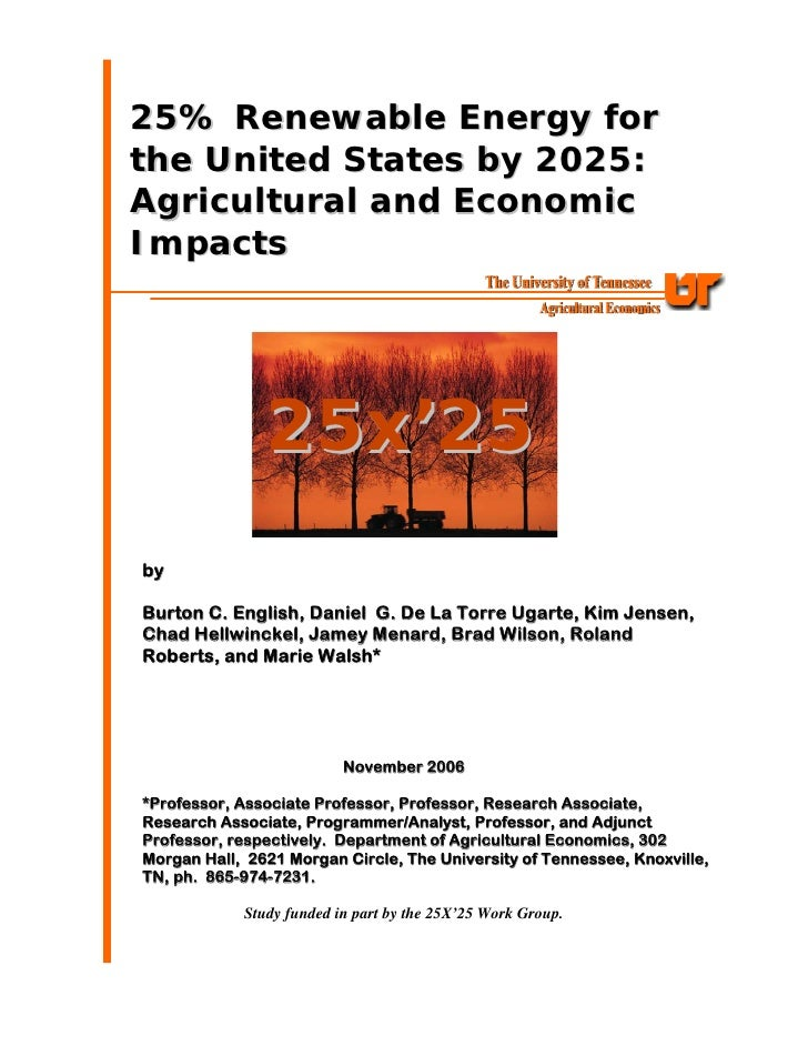25% Renewable Energy for the United States by 2025: Agricultural and Economic Impacts